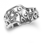 12MM 925 Sterling Silver Swirl Filigree Ring