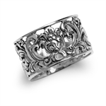 12MM 925 Sterling Silver Siamese Filigree Wide Band Ring
