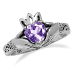 Natural Heart Shape Amethyst Irish Claddagh & Triquetra Celtic Knot 925 Sterling Silver Ring