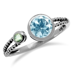 1ct. Blue Topaz & Peridot 925 Sterling Silver Balinese Style Open Front Ring