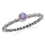 Petite Natural Amethyst 925 Sterling Silver Bead Ball Stack/Stackable Solitaire Ring