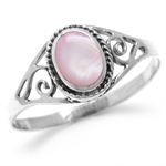 Pink Mother Of Pearl Antique Finishing 925 Sterling Silver Swirl & Rope Ring