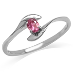 Natural Pink Tourmaline White Gold Plated 925 Sterling Silver Bypass Promise Ring