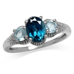 1.43ct. Genuine London Blue Topaz White Gold Plated 925 Sterling Silver Ring