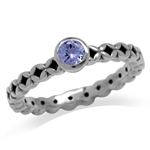 Genuine Tanzanite 925 Sterling Silver Filigree Stack/Stackable Solitaire Ring