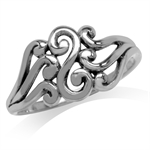 925 Sterling Silver Filigree Swirl & Spiral Ring