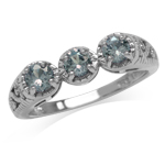 3-Stone Simulated Color Change Alexandrite 925 Sterling Silver Victorian Style Filigree Ring