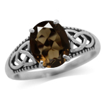2.52ct. Natural Smoky Quartz 925 Sterling Silver Triquetra Celtic Knot Ring