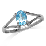Genuine Oval Shape Swiss Blue Topaz 925 Sterling Silver Solitaire Ring