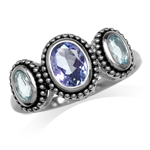 Genuine Oval Shape Tanzanite & Blue Topaz 925 Sterling Silver Bali/Balinese Style Ring