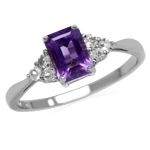Genuine African Amethyst Octagon 7x5 mm 925 Sterling Silver Engagement Ring