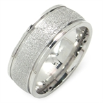 8MM Unisex Stainless Steel Sandblasted Eternity Band Ring