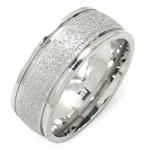 8MM Unisex Stainless Steel Sandblasted Eternity Band Ring
