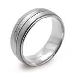 8MM Double Texture 316L Stainless Steel Pattern Wide Band Ring
