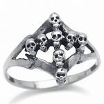 925 Sterling Silver SKULL CROSS Ri...