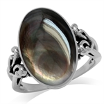 Oval Shape Black Mother Of Pearl 925 Sterling Silver Victorian Style Heart Knot Ring