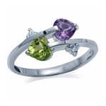 Natural Amethyst, Peridot & White ...