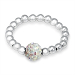 AB Crystal Rhinestone & Sterling Silver Ball Bead Stretch Stack/Stackable Ring