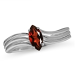 Natural Garnet 925 Sterling Silver Solitaire Ring