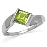 1.16ct. Natural Peridot White Gold Plated 925 Sterling Silver Engagement Solitaire Ring