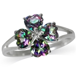 2.16ct. Heart Shape Mystic Fire Topaz 925 Sterling Silver 4-Leaf Clover Ring