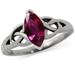 1.43ct. Ruby Red Doublet 925 Sterling Silver Triquetra Celtic Knot Ring