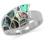 Abalone/Paua Shell Inlay 925 Sterling Silver Modern Ring