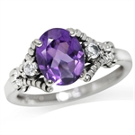 1.63ct. Natural African Amethyst & White Topaz 925 Sterling Silver Cocktail Ring