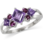 Natural Amethyst & Rhodolite Garnet 925 Sterling Silver Cocktail Ring