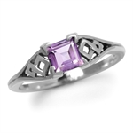 Natural Amethyst 925 Sterling Silver Weave Solitaire Ring