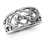11MM 925 Sterling Silver Filigree Heart Victorian Style Ring