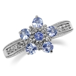 Tilted Flower Genuine Tanzanite White Gold Plated 925 Sterling Silver Right Hand Ring