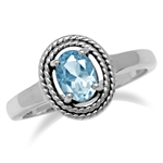 Geuine Blue Topaz 925 Sterling Double Rope Balinese Style Solitaire Ring