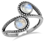 Natural Moonstone 925 Sterling Silver Bali/Balinese Style Bypass Ring
