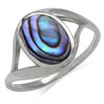 Oval Shape Abalone/Paua Shell Inlay 925 Sterling Silver Casual Ring