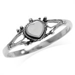 Petite Heart Shape White Mother Of Pearl 925 Sterling Silver w/Antique Finishing Rope Casual Ring