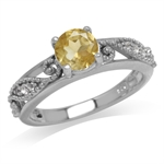 Natural Citrine & White Topaz Gold Plated 925 Sterling Silver Filigree Engagement Ring