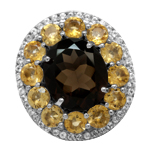 5.39ct. Natural Smoky Quartz, Citrine & Topaz 925 Sterling Silver Filigree Cluster Cocktail Ring