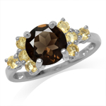 1.87ct. Natural Round Shape Smoky Quartz & Citrine White Gold Plated 925 Sterling Silver Ring
