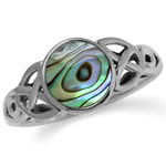 Abalone/Paua Shell Inlay 925 Sterling Silver Triquetra Celtic Knot Solitaire Ring
