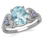3.03ct. Genuine Blue Topaz & Tanza...