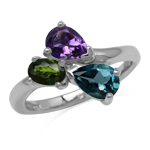 London Blue Topaz Amethyst and Chrome Diopside 925 Sterling Silver Birthstone Ring