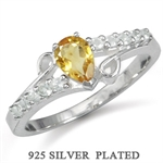 Natural Citrine & White Topaz 925 Sterling Silver Plated Ring
