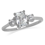White CZ 925 Sterling Silver Engagement Ring