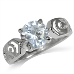 8MM Round Shape White CZ 925 Sterling Silver Filigree Solitaire Ring
