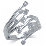 White Cubic Zirconia (CZ) 925 Sterling Silver Bypass Cluster Ring