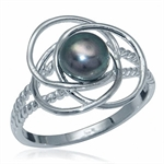 6MM Cultured Black Pearl 925 Sterling Silver Elegant Ring