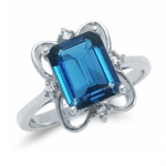 3.94ct. Natural London Blue Topaz 925 Sterling Silver Ribbon Ring