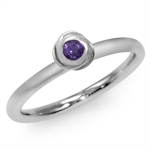 Amethyst Purple CZ White Gold Plated 925 Sterling Silver Rose Stack/Stackable Ring