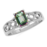 1.26ct. 7x5MM Octagon Shape Mystic Fire Topaz 925 Sterling Silver Celtic Knot Solitaire Ring